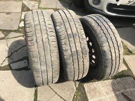 Part worn tyres, three 205 65 16c