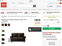 Brand New Salisbury Regular Chocolate Leather Sofa