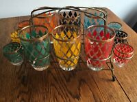 Set Of Retro Vintage Glasses And Stand