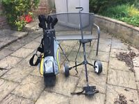 John Daly full set of clubs with trolley