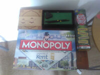Variety of games including KENT MONOPOLY