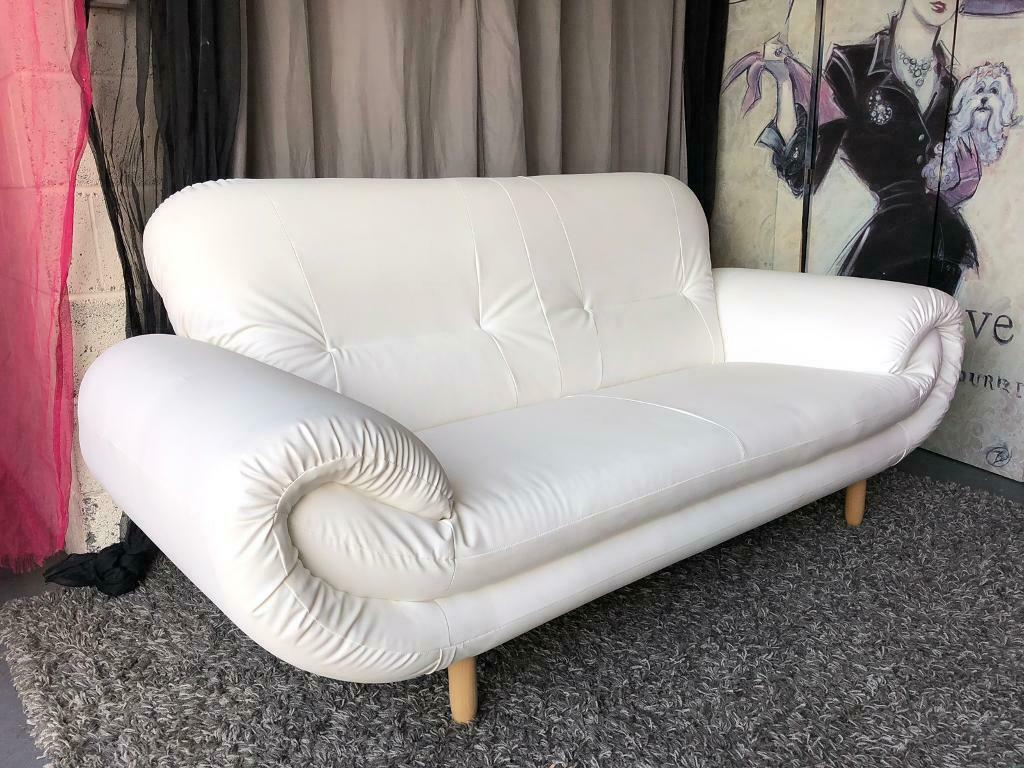 New Nena 3 Seater Faux Leather Sofa In White Stockport Manchester Gumtree