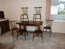 Antique style crinoline stretchers brights nettlebed 6 chairs & Table