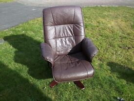 Swivel Recliner faux Leather Armchair