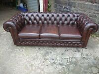 LEATHER CHESTERFIELD SOFA IN RED OR BROWN WANTED TO BUY