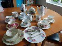 Vintage crockery, cup and saucer, teapot