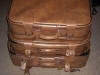 Set of 3 vintage 1970s Revelation leather suitcases