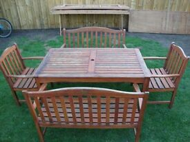KENT COLLECTION WOODEN RECTANGULAR GARDEN TABLE TWO BENCHES TWO CHAIRS