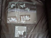 Lovely glass butterfly 8 placemats and 8 coasters, £10