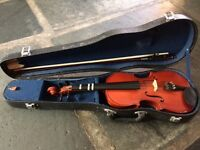 1/2 Size violin with bow, chin rest and hard case