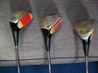 Vintage Ping Wooden Head Steel Shaft Driver, 3 and 5 Woods (with headcovers) In Good Condition