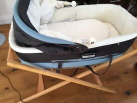 Mamas and Papas bassinet with hood, mattress, bedding and its own stand