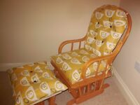 Re-upholstered Glider Chair and Footstool