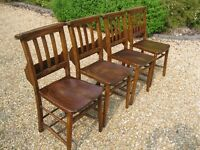 SET OF 4 OLD CHAPEL CHAIRS. *More available* DELIVERY POSS. Different church chairs & pews for sale.
