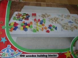 Children's wooden block set