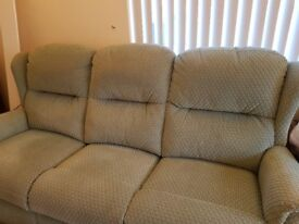 Green 3 seater and single chair