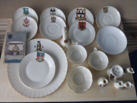 Goss crested china collection Lighthouse, plates, cups, 1907 postcard, 15 pieces, plus 4 non Goss