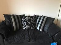 2x3 seater couches black and silver