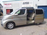 Nissan Elgrand,8 seat sports auto,dual fuel LPG,stunning looking people carrier,side loading doors