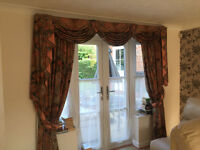 Two pairs of luxury Curtains with swags and tails, fully lined.