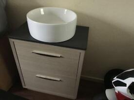 Vanity unit and round sink two draw cost £569 take £120 brand new bargain