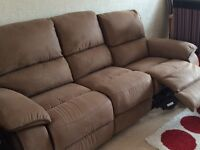 3 seater sofa with 2 single chairs all with recliners