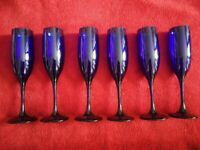 Set of 6 Blue Recycled Glass Tall Glasses