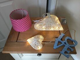 Pink lampshade, light up heart and love sign.