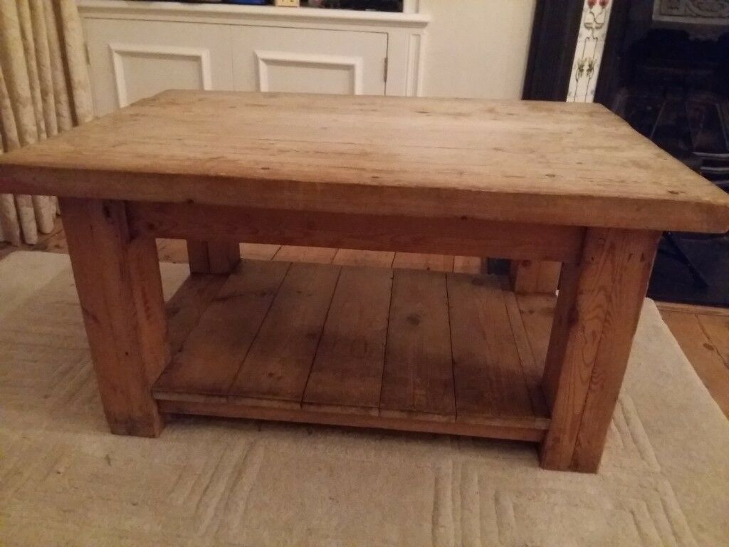 Heavy Solid Oak Rustic Style Coffee Table With Shelf 90cm X 60 Cm 48 H