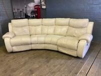 HARVEYS WHITE LEATHER CORNER SOFA ELECTRIC RECLINER IN EXCELLENT CONDITION