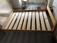 King size solid pine wooden bed frame
