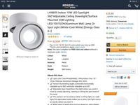 3 LANBOS Indoor 10W LED Spotlight 360°Adjustable Ceiling Downlight/Surface Mounted COB Lighting
