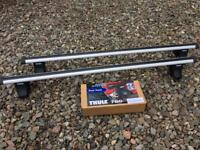 Thule Aero roof bars 869 with Thule 750 foot pack and Thule 1417 fitting kit for Audi A3. Roof rack.