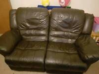 Leather recliner two seater