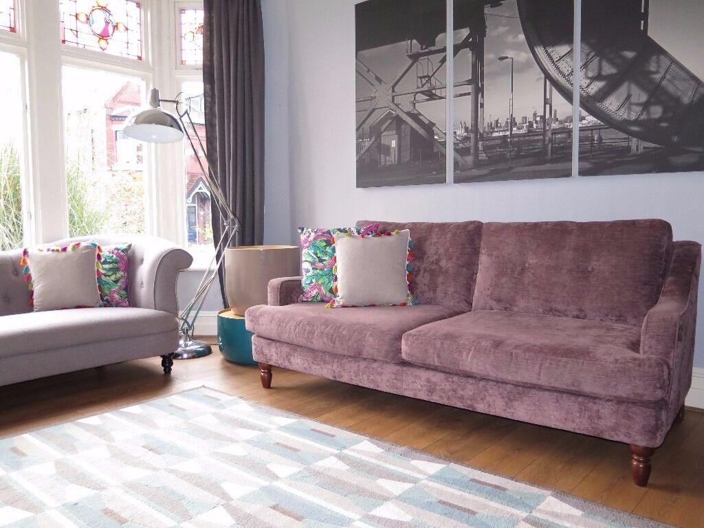 John Lewis Living Room Aubergine John Lewis Crushed Velvet Chenille 3 Seater Sofa In