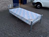 metal single bed frame with 7 inch thick clean mattress