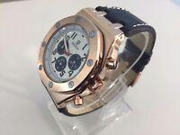 New Audemars Piguet AP Royal Oak offshore Rose Gold Case Automatic Watch, LEATHER STRAP