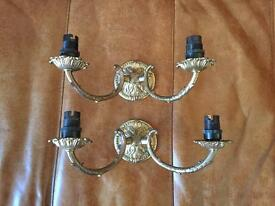 Pair of Vintage Brass Effect Wall Lights
