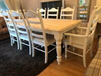 Gorgeous 6ft Shabby Chic Chunky Farmhouse Oak Table and 8 Chairs