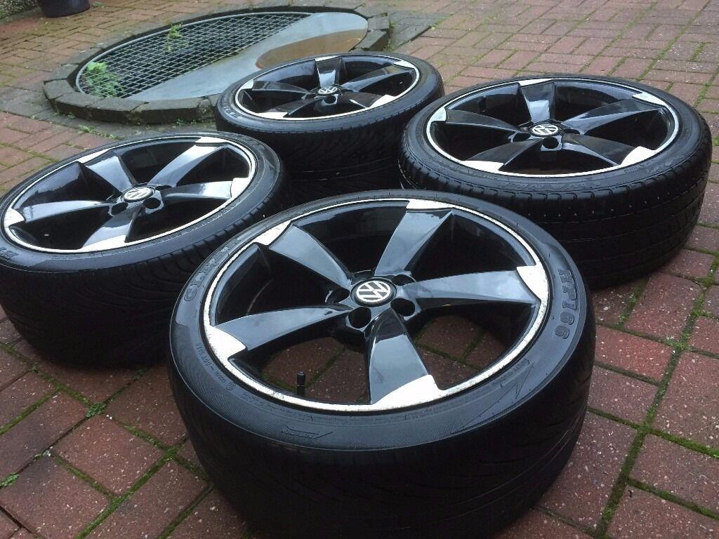 18 Quot Black Audi Rotor Alloy Wheels Ttrs Good Tyres 5x100