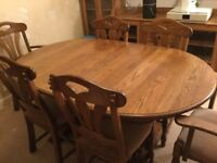 Oak dining table and chairs extendable