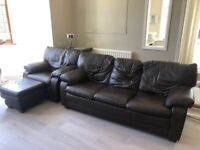 Dark Brown Leather Sofa, Armchair and Footstool