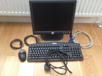 Monitor - Dell 15 inch plus Keyboard, Mouse and supporting cables