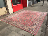 Large Super Keshan Rug 142in x 108in approx 12ft x 9ft Dusky pink in colour. Free local delivery.
