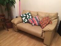 CHEAP Beige Leather 2 Seater Sofa - Must go ASAP!