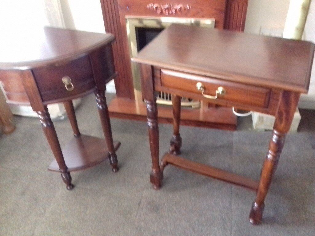 Stunning Solid Wood with Brass Handel Pair of Tables FREE delivery