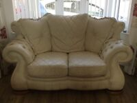 3 piece cream leather suite with foot stool