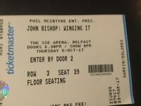 Two john Bishop tickets for sale. Belfast 5th October, SSE Arena