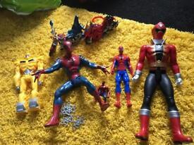 Boys toy bundle Spider-Man power ranger transformer