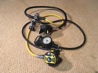 Cressi Scuba diving regulator set with buddy Reg and drysuit hose